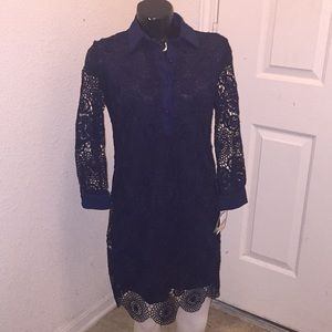 Taylor Long Sleeve Crochet Mini Navy Blue Dress